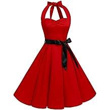 Bbonlinedress Mujer Vestido De Estilo 1950 Fiesta Halter Retro Vintage Rockabilly