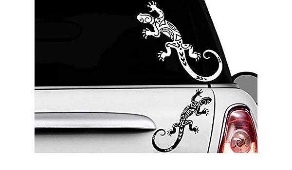 Hr Werbedesign 2x Gecko 30 X 13cm Auto Aufkleber Hawaii Sticker Tattoo Gekko Hibiskus Eidechse Auto