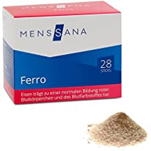 Ferro MensSana | 28 Sticks mit veganem, wohlschmeckendem Pulver. Eisen kombiniert mit Vitamin B12 und Vit C – Nahrungsergänzung für Blut und Immunsystem. Made in Germany