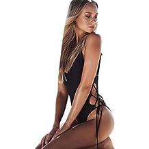 Bikinis Sexy Traje de Baño de Una Pieza de Mujer Bañador de baño trikini bikini brasileño mujer Biquinis acolchado push-up de vendaje Monokini Mono Para Mujer Amlaiworld (Negro, S)