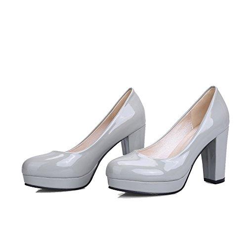 VogueZone009 Femme Tire à Talon Haut Verni Couleur Unie Rond Chaussures Légeres Gris