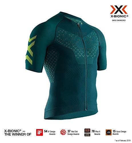 Polypropylen-zip-kragen-shirt (X-Bionic Herren Twyce 4.0 Bike Zip Shirt Short Sleeve Men Pine Amazonas Green, L)
