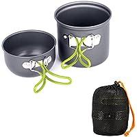 Ecent 2pics kit de utensilios de cocina vajilla ollas para camping senderismo excursión al aire libre de aluminio