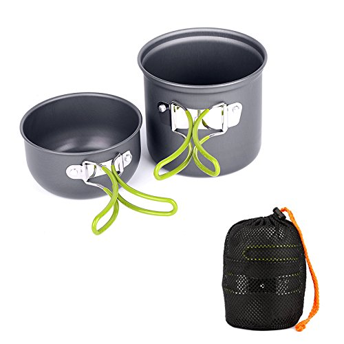 Ecent Portable 1-2 Person Outdoor Camping Hiking Picnic Aluminum Alloy Cookware Set