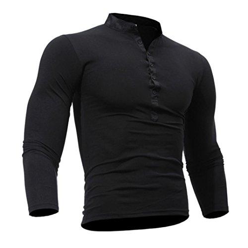 Herrenhemd, REFULGENCE 2017 Herrenhemden mit casual Look für Business und Freizeit Herrenhemd Einfarbiges Freizeithemd (Schwarz, M)
