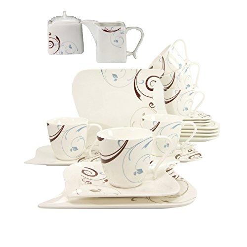 Ozean Ocean Classico Dekor Kaffee Service 20 teilig Neu Eckig Porzellan Geschirr Set 6 Personen