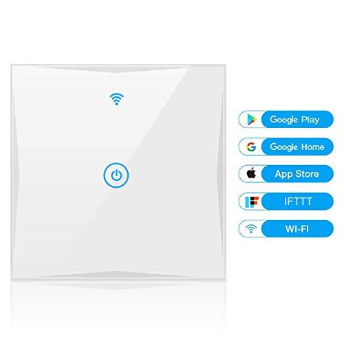 Wifi Smart Lichtschalter, YAPMOR WLAN In-Wall Schalter Kompatibel mit Alexa und Google Home, gehärtetem Glas Touchscreen, Steuern Sie Ihre Geräte von überall, kein Hub benötigt (1-weg) -