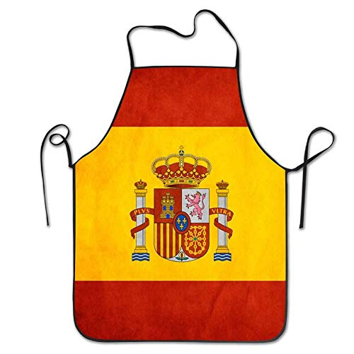 HTETRERW Spain Flag Art Cooking Apron Kitchen Apron, Lock Edge Waterproof Durable String Adjustable Easy Care Aprons for Women Men Chef