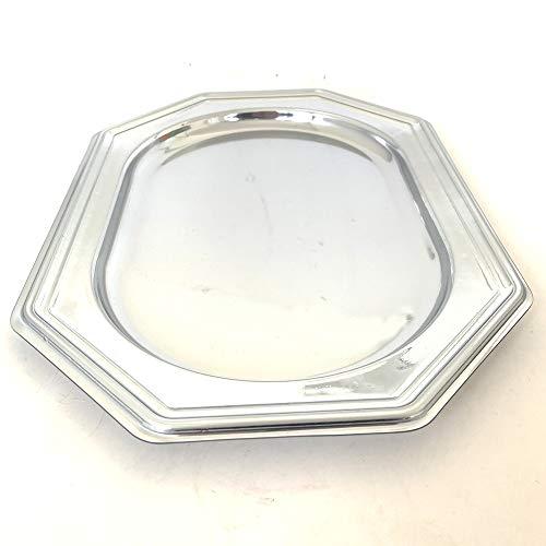 Extiff 5 ovale Tabletts aus Kunststoff metallic - Platten für Gebäck oder Buffet kalt, Silber, 19,5 x 27 cm Buffet Platte
