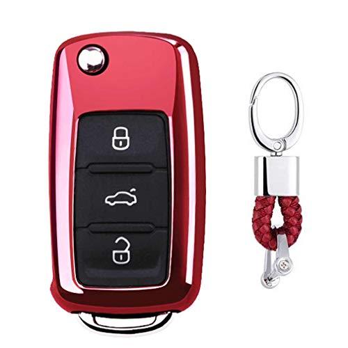 Rot Car Keyless Entry Key Cover Fall für VW Volkswagen Polo Passat Golf Beetle Rabbit GTI Jetta 3 Button, weiches TPU Schutzhülle mit Schlüssel Kette