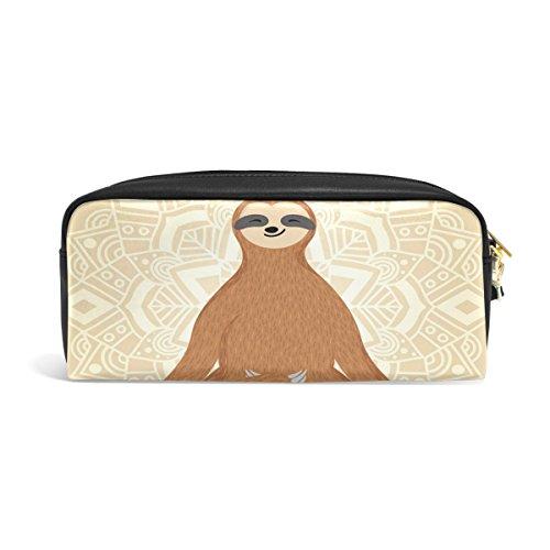zzkko Funny Yoga Faultier Leder Reißverschluss Federmäppchen Pen Stationäre Bag Kosmetik Make-up Bag Tasche Geldbörse (Yoga Stationären)