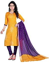 Taboody Empire Touching Yellow Satin Cotton Handi Crafts Bandhani Work With Straight Salwar Suit For Girls And...