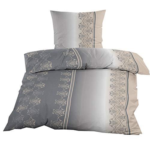 Fleece Bettwäsche mit Reißverschluss aus 100% hochwertigem Polyester 135×200 cm Grau Beige