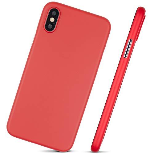 MobiTek Schutzhülle für iPhone XS, ultradünn, minimalistisches Design, ohne Markenlogo, rot -