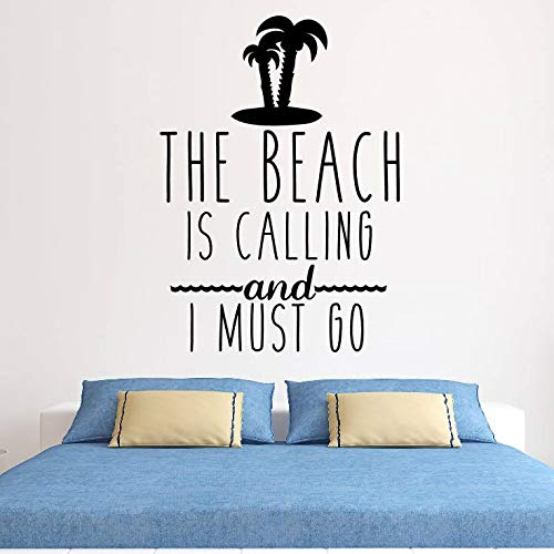 Beach Quote Wall Decal Home Decor The Beach is Calling Wall Sticker Sea Style Wall Mural Water Sports Lover Gift Decals42x59cm (Golden South Sea)