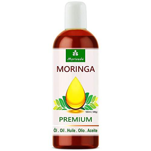 Moringa Öl Premium 100ml von MoriVeda, kalt gepresst aus Qualitätssamen. 100% Oleifera Qualität. Hautpflege, Haarpflege, Wundpflege, Anti-Aging, Speiseöl, Behenöl -