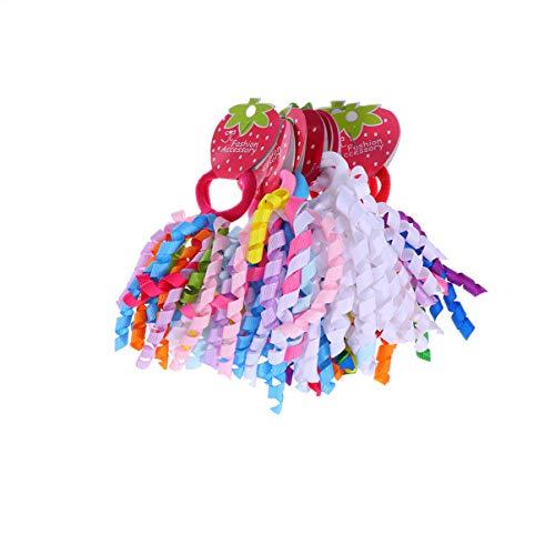 Lurrose 20pcs lockiges korker Bogenhaar bindet korker Farbbandgummi-Haarbandboutique-Pferdeschwanzhalter für Babyfrauen -