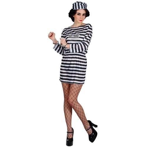 Sträfling Gefangener Süßer Knasti Verkleidungsparty Karneval Halloween Kostüm L