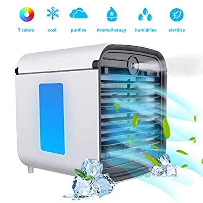 BASEIN Portable Air Cooler, 4 in 1 Mobile Air Conditioner, Humidifier, Purifier and Aroma Diffuser, Evaporative Cooler with Water Tank, 3 Adjustable Speeds and 7 LED Lights for Home and Office