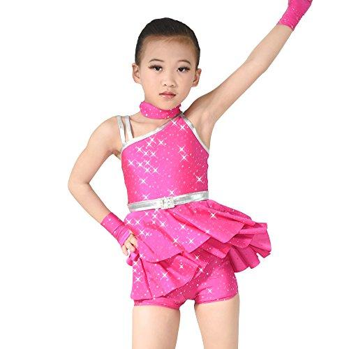 ne Mädchen Diagonal-hals Pailletten Tanz Kostüm Lyrische Shorts (Fuchsie, XXSC) (Tanz Kostüme Lyrischen)