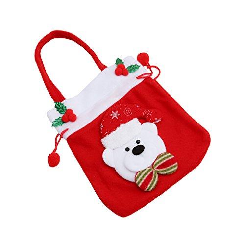 LnLyin Weihnachtsdekoration Süßigkeits-Aufbewahrungsbeutel-Nette Zugschnur-Geschenk-Festlichkeits-Taschen-Tasche süße Süßigkeit-Weihnachtshandtasche, Kleiner Bär