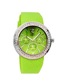 Eton Damen-Armbanduhr mit diamantbesetztem Gehäuse und gemustertem Silikonarmband, limefarben, 2927–3, wenig Nickel