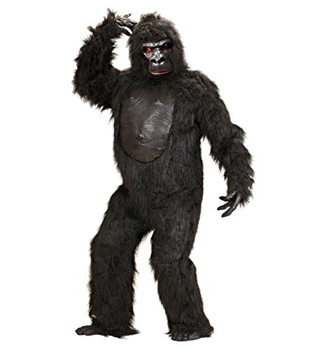chsenenkostüm Gorilla aus Plüsch, Kostüm mit Bruststück, Hände, Füߟe und Maske, schwarz, Einheitsgröߟe (Echte Gorilla-kostüm)