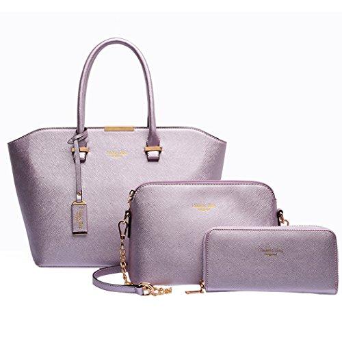 3-Teiliges-Damen-Handtaschenset-Vintage-Leder-Henkeltasche-Crossbody-Tasche-HandgelenktascheRosy