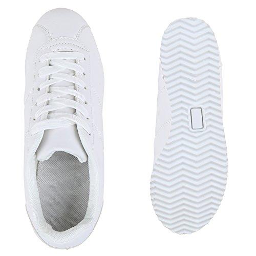 Damen Herren Sportschuhe Lederoptik Laufschuhe Sneakers Gesteppt Weiss Matt Matt