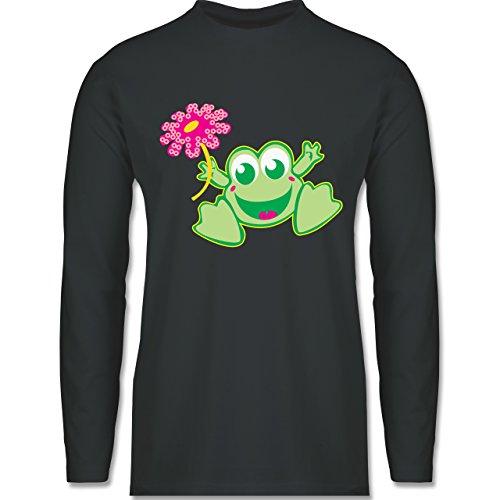 Blumen & Pflanzen - Frosch mit Blume - Longsleeve / langärmeliges T-Shirt für Herren Anthrazit