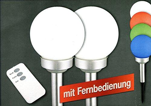 Sonderangebot LED Solar Kugelleuchte 15 cm Malin im 2er Set weiß und mit Farbwechsel, Fernbedienung Solarleuchte