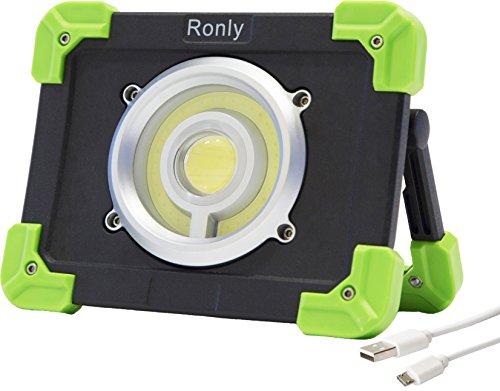Ronly tragbare LED Arbeitsleuchte - Outdoor wasserdicht Wireless wiederaufladbar 20W Flut Licht 1200lm 6600mAh Doppel-USB-Port Spotlight für Camping, DIY Aufgabe und SOS-Notfälle 6600 Usb