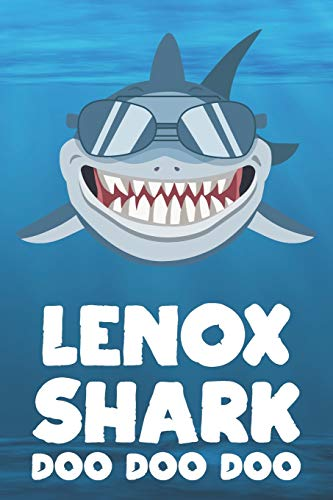Lenox - Shark Doo Doo Doo: Blank Ruled Name Personalized & Customized Shark Notebook Journal for Boys & Men. Funny Sharks Desk Accessories Item for ... Supplies, Birthday & Christmas Gift for Men. Lenox Tiere