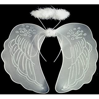 Allsorts® White Angel Fairy Set with Wings and Halo Girls Nativity Play Fancy Dress