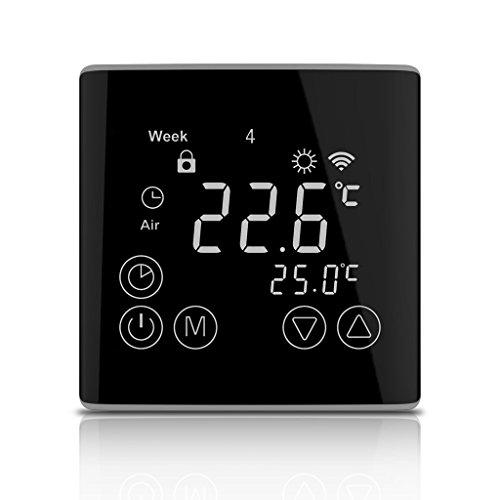 WELQUIC Termostato WIFI 7 días Programable LCD con Pantalla Táctil Remote APP Support Calefacción Control de temperatura de enfriamiento Moderno y Diseño de Child Lock para Hogar y Oficina