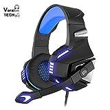 VersionTECH. Auriculares Gaming Cascos PS4 con Micrófono Plegable, Sonido Envolvente, Luz LED, Control de Volumen, Cancelación de Ruido, Diadema Acolchada para PS4/PC/Xbox One/PSP/Móvil/Tableta (Azul)