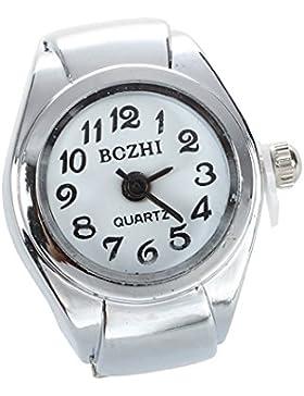 SODIAL(R)Unisex Quarzlegierung runde weisse Zifferblatt arabische Ziffern Ring Uhr Silber
