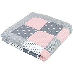 ULLENBOOM ® Tapis d'Éveil et Matelas pour Parc Bébé Gris Rose (100x100 cm Tapis sol bébé patchwork, Motifs étoiles, pois et vichy)