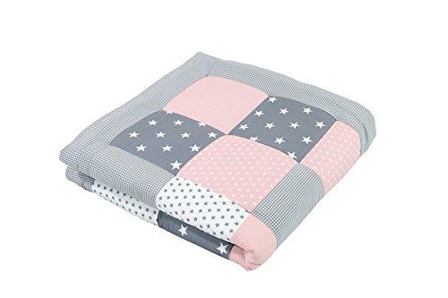 Alfombra para gatear de ULLENBOOM ® con rosa gris manta para bebé de 100x100 cm; ideal como colcha...