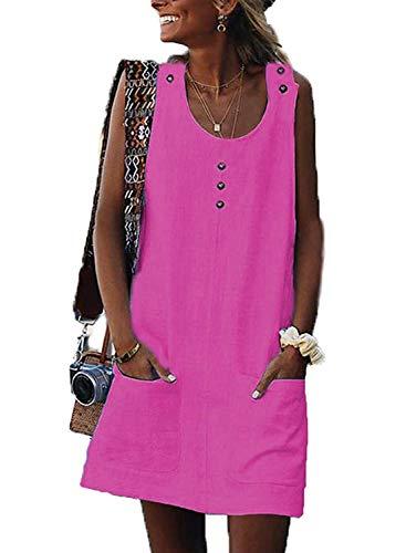 AitosuLa Sommerkleid Damen Ärmellos Strandkleid Minikleider Casual Kurze Trägerkleid Verstellbare Button Tank Kleider Und Taschen (Rose Rot, XL)
