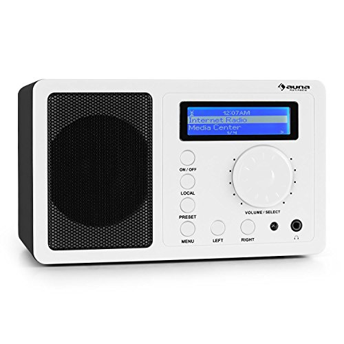 auna IR-130 WH • Internetradio • Digitalradio • WLAN-Radio • Breitbandlautsprecher • Streamen • über 8000 Internetradio-Stationen • Line-Ausgang • Uhrzeitanzeige • Weckfunktion • Wetteranzeige • LCD-Display • Hochglanz-Oberfläche • weiß