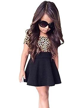 Vestido de niña, RETUROM Vestido sin mangas del vestido de la impresión del leopardo de la niña de la manera