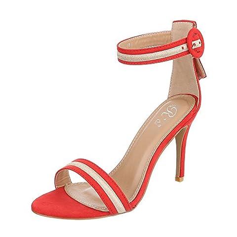 High Heel Sandaletten Damen-Schuhe Plateau Pfennig-/Stilettoabsatz High Heels Schnalle Ital-Design Sandalen / Sandaletten Rot, Gr 38, 6392-Gl-