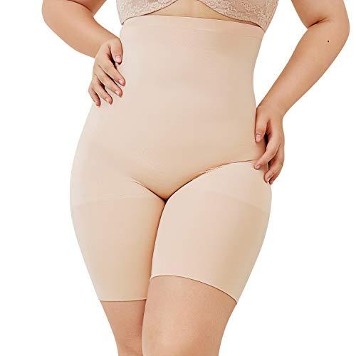 DELIMIRA Damen Miederhose mit Bein Miederpants Hohe Taille Bauch Weg Formender Beige 42