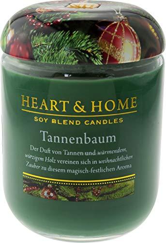 Heart & Home Duftkerze Tannenbaum, weihnachtlicher Duft nach Kräutern, Honig & Holz, Sojawachs-Kerze im Glas, brennt bis zu 30 h, vegan, 115 g -