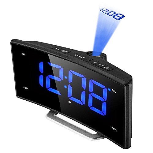 "Projektionswecker, Holife FM Projektionsuhr Uhrenradio (2"" Blaue LED Display, 180° Flip-Projektionsanzeige, Schlummerfunktion UKW-Radio, Dual-Alarm, Dimmbar, Snooze)"