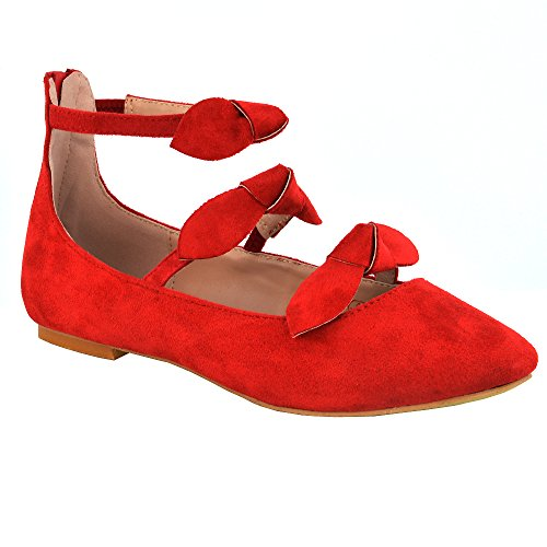 Essex Glam Synthetic Chaussure Femme Ballerina Strap Cheville Rouge Faux Suede