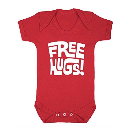 FLOSO - Body con Scritta in Inglese Free Hugs - Neonati (6-12 mesi) (Rosso)