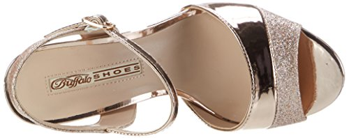 Buffalo David Bitton 15s90-5 Glitter Metallic Pu, Sandales Bout Ouvert Femme Multicolore (Rose 23)