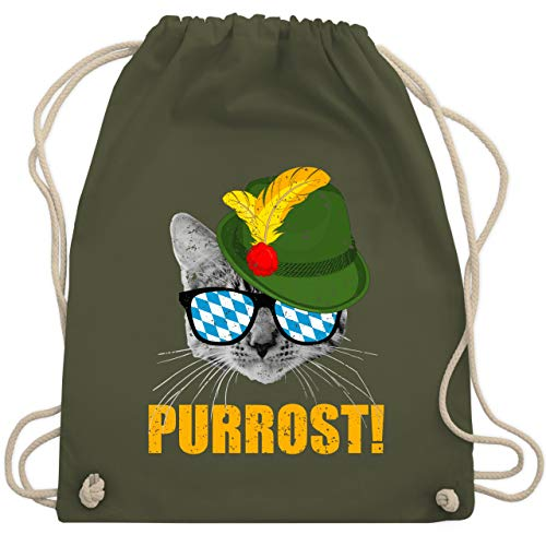 Oktoberfest Beutel - Purrost! Bayrische Katze - Unisize - Olivgrün - WM110 - Turnbeutel & Gym Bag
